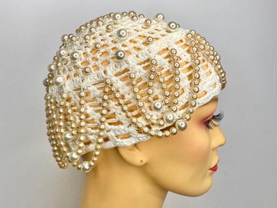 Vintage Pearl Drop Crochet Skull Cap - image 1