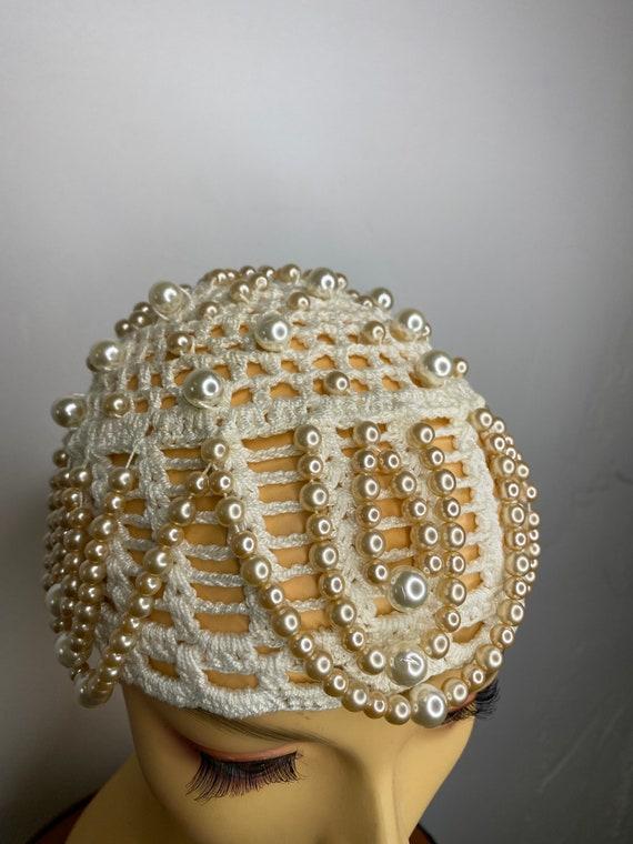 Vintage Pearl Drop Crochet Skull Cap - image 4