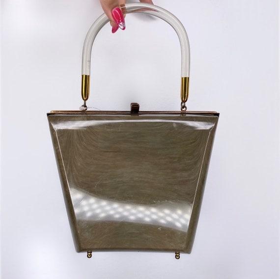 Vintage Lucite Box Bag Olive Green