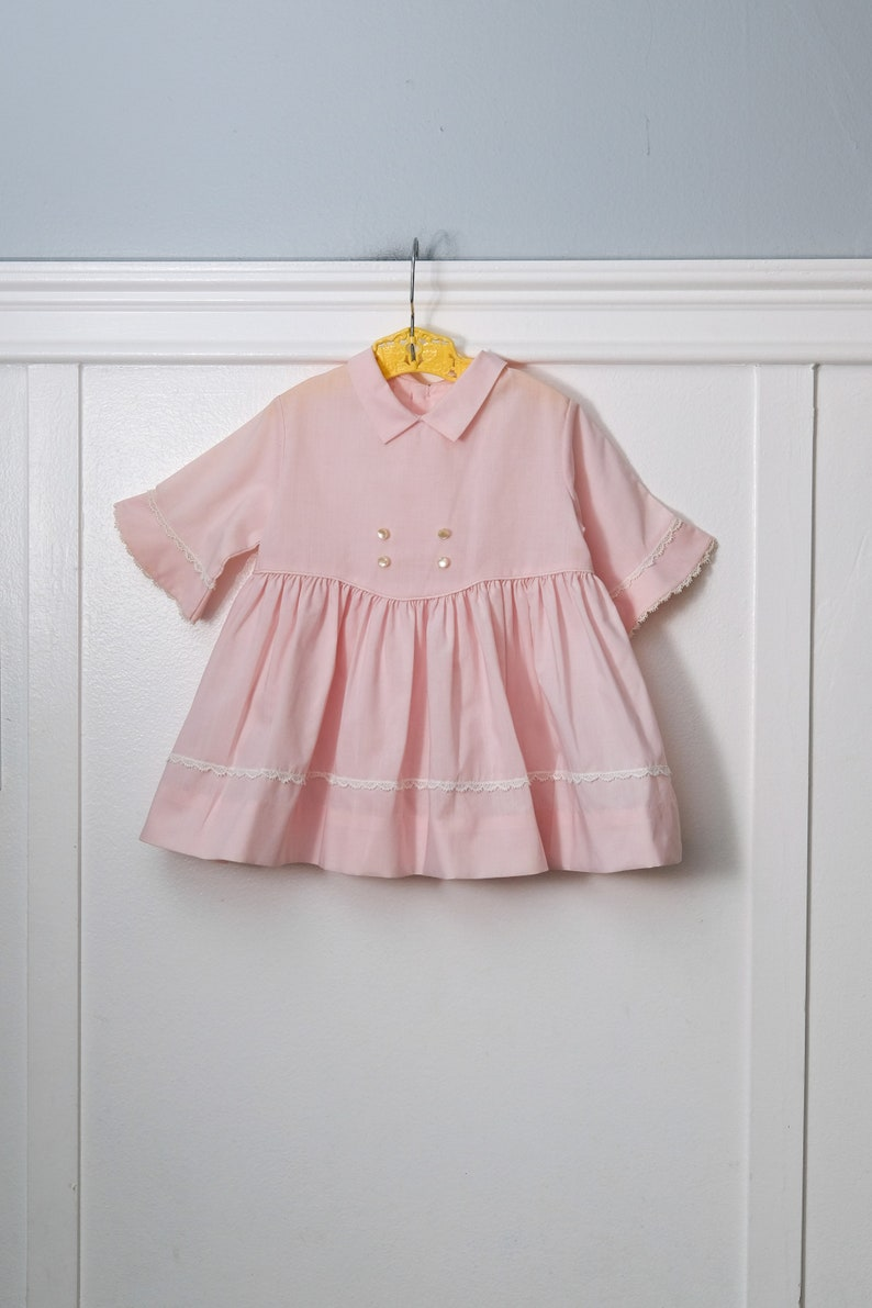 Girls 2T: Classic Pink Toddler Girl's Dress, Pointed Collar, Bell Sleeves, Lace Trim, Button Details