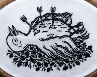 "Dead Bird on Black Leaves. Framed hand-embroidered design, 15cm/6"" hoop included, embroidery art"