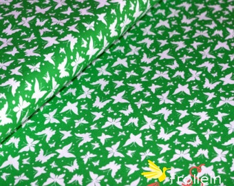 "Euro cotton fabric ""Butterfly-Dance"" green by Emanuela Pesche Oeko-Tex by 1/2 yd spring fabric"