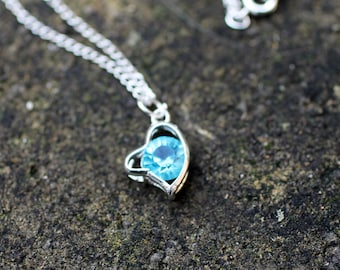 Silver Necklace with Blue Crystal Heart Pendant