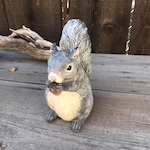 Grey Squirrel Statue, Animal Statues, Hand Painted Gray Squirrel, Patio Decorative Critter Statue, Gray Squirrel Front Porch Decor