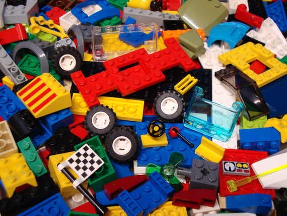 BLUE LEGO PIECES FROM HUGE BULK LOT PARTS 200