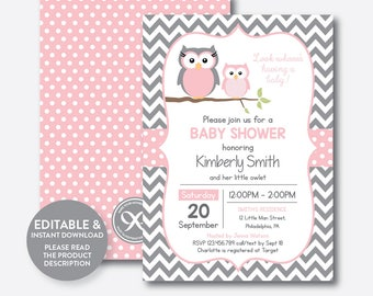Owl baby shower invitation etsy instant download editable owl baby shower invitation pink owl invitation girl baby shower owl baby sprinkle girl gray chevron sbs44 filmwisefo