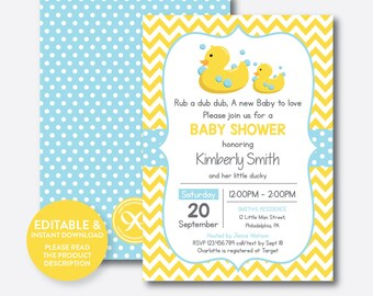 Duck baby shower etsy instant download editable rubber duck baby shower invitation rubber duck invitation yellow duck invitation yellow blue chevron sbs67 filmwisefo