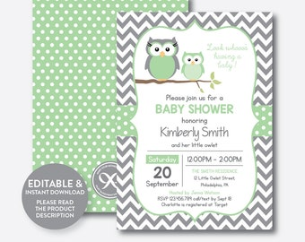 Owl baby shower etsy instant download editable owl baby shower invitation green owl invitation boy girl baby shower baby sprinkle green gray chevronsbs48 filmwisefo