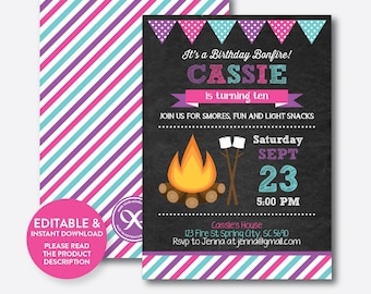 Camping invitations etsy instant download editable bonfire birthday invitation bonfire invitation camping invitation camping party invite chalkboard ckb498b filmwisefo