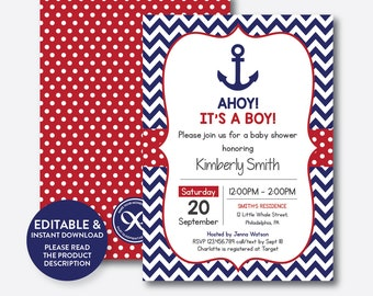 Nautical baby shower invitation etsy instant download editable nautical baby shower invitation nautical invitation anchor baby shower invitation ahoy its a boy sbs74 filmwisefo