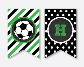Instant Download Soccer Party Banner Happy Birthday Printable Football Chalkboard CKB78