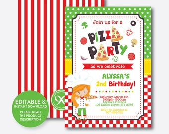 Pizza party invite etsy instant download editable pizza birthday invitation pizza party invitation pizza invitation chef birthday invitation girl skb20c stopboris Choice Image