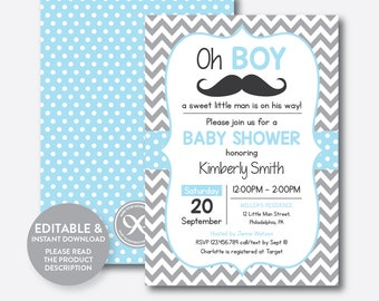 Mustache baby shower invitation etsy instant download editable mustache baby shower invitation mustache invitation little man boy baby shower blue gray chevron sbs22 filmwisefo