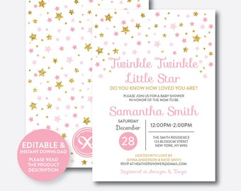 Instant Download, Editable Twinkle Twinkle Little Star Baby Shower Invitation, Pink and Gold Invitation, Gold Glitter Invitation (GBS.05)