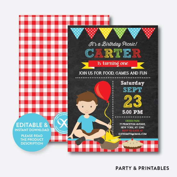 instant download editable picnic birthday invitation picnic etsy