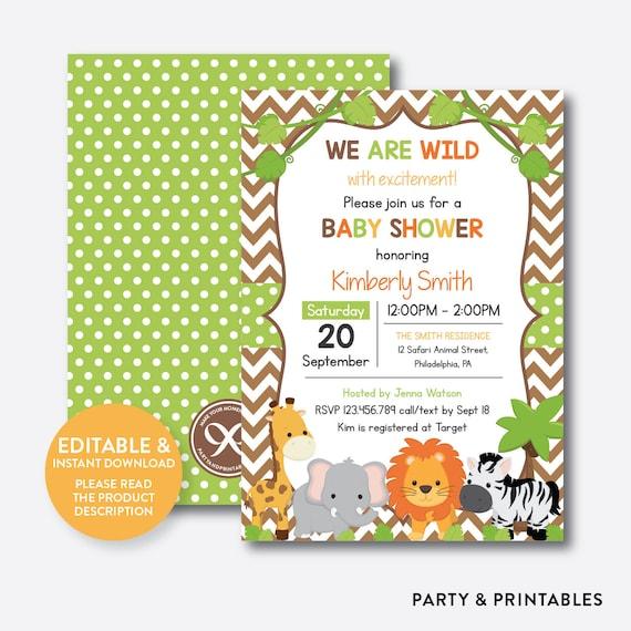 Instant Download Editable Safari Baby Shower Invitation Jungle