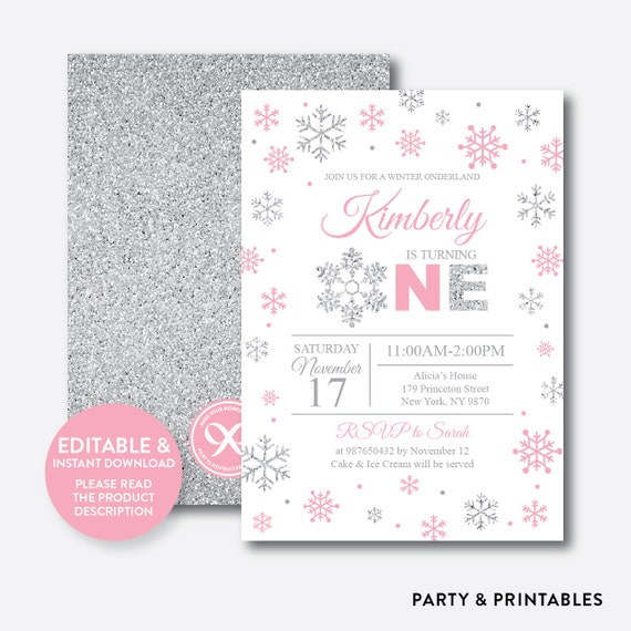 Instant Download Editable Winter Onederland Birthday Invitation Wonderland First Pink And Silver GKB02B