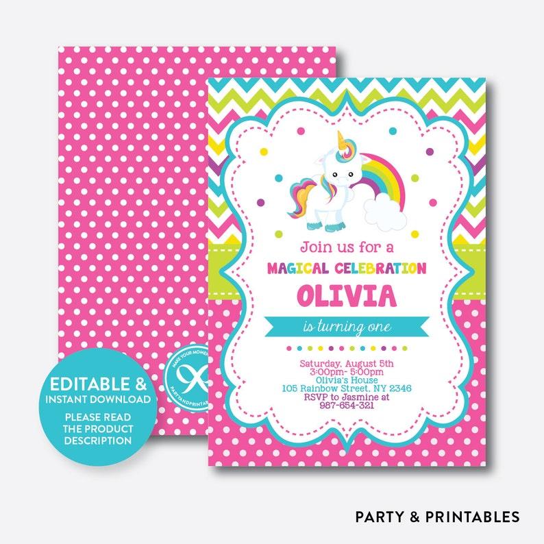 Instant Download Editable Unicorn Birthday Invitation