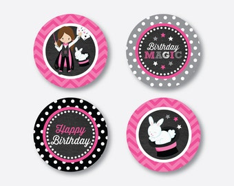 """Instant Download, Magician Cupcake Toppers, Pink Magic Cupcake Toppers, Party Circle, 2"""" circles, Magic Party Printable, Chalkboard(CKB.156)"""
