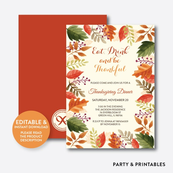 instant download editable thanksgiving invitation thanksgiving