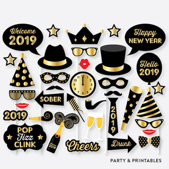 Printable DIY New Year's Eve Photo Booth Props