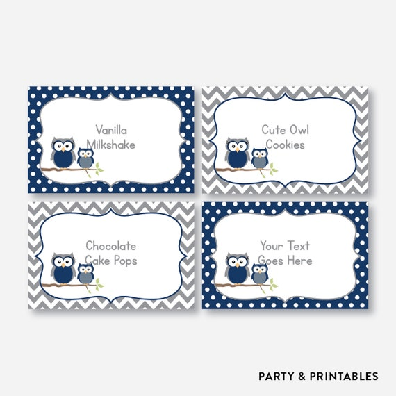 Instant Download Editable Owl Food Labels Navy Owl Baby Etsy