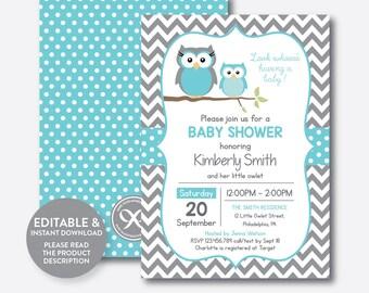 Owl baby shower invitation etsy instant download editable owl baby shower invitation filmwisefo
