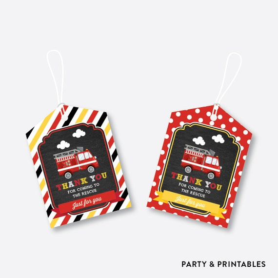 Instant Download Fire Truck Favor Tags Firetruck Thank You