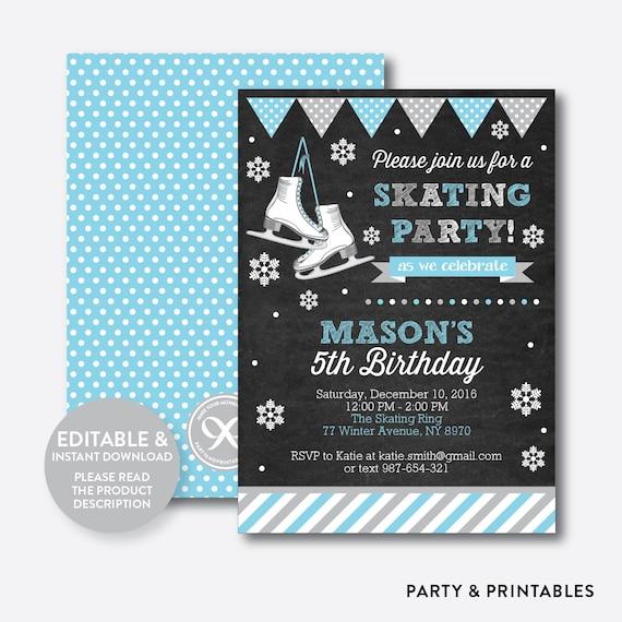 instant download editable ice skating birthday invitation ice