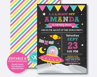 Instant Download, Editable Alien Birthday Invitation, Alien Invitation, Space Invitation, Outer Space, Out of This World,Chalkboard(CKB.69B)
