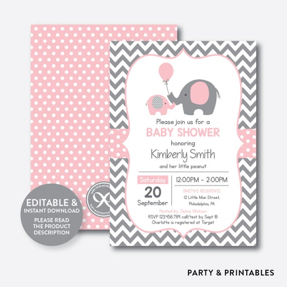 Instant Download Editable Elephant Baby Shower Invitation Pink