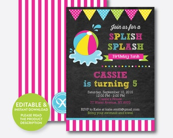 Instant Download, Editable Beach Ball Birthday Invitation, Beach Party Invitation, Pool Party Invitation, Splish Splash, Chalkboard(CKB.109)