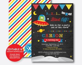 Instant Download, Editable Alien Birthday Invitation, Alien Invitation, Outer Space Invitation, Alien Party Invitation, Chalkboard (CKB.68)