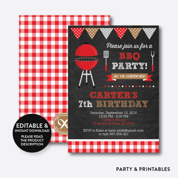 Instant Download Editable BBQ Birthday Invitation Barbeque Etsy