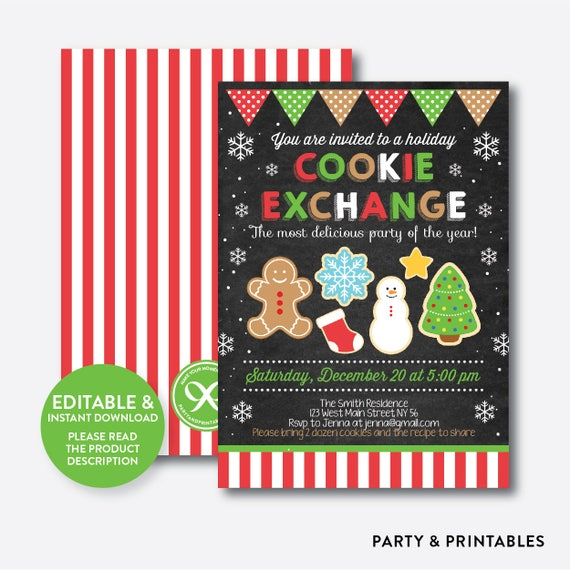 Instant Download Editable Cookie Exchange Invitation Cookie Swap