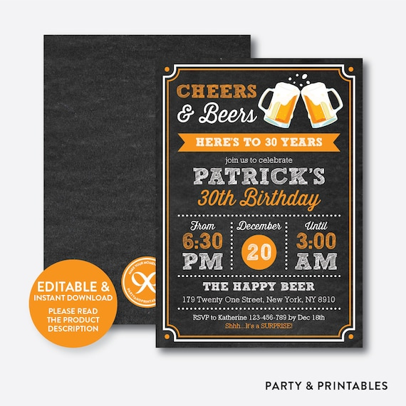 Instant Download Editable Cheers And Beers To 30 40 50 60 70 80 Years Birthday Invitation Surprise InviteChalkboardCAB06