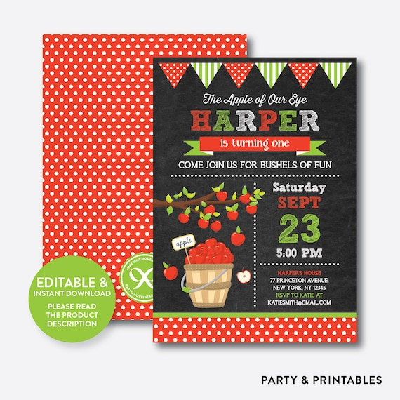 Instant Download Editable Apple Of Our Eyes Birthday Invitation Picking Fall Chalkboard CKB419