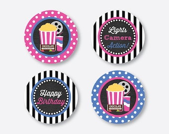"""Instant Download, Movie Cupcake Toppers, Movie Night Cupcake Toppers, Party 2"""" circles, Gift Tags, Favor Tags, Thank You Tags (CKB.170)"""