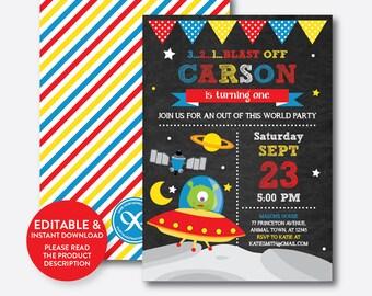 Instant Download, Editable Alien Birthday Invitation, Alien Invitation, Outer Space Invitation, Alien Party Invitation, Chalkboard (CKB.68B)