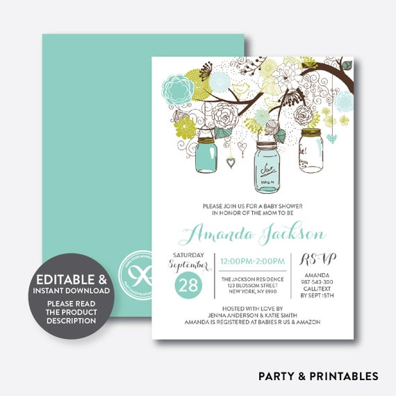 Instant Download Editable Mason Jar Baby Shower Invitation Mason