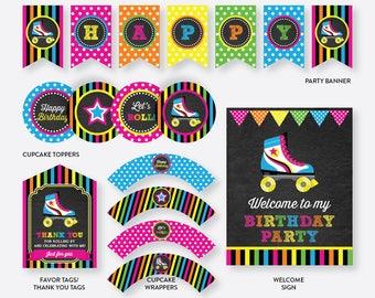 Instant Download, Roller Skate Party Package, Roller Skate Birthday Package, Roller Skate Party Pack, Roller Skate Printables (CKB.548)