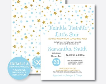 Instant Download, Editable Twinkle Twinkle Little Star Baby Shower Invitation, Blue and Gold Invitation, Gold Glitter Invitation (GBS.06)