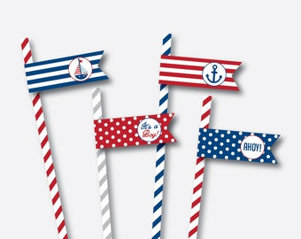 Instant Download, Nautical Straw Flags, Nautical Drink Flags, Nautical Food Flags, Nautical Party Printable, Nautical Decoration (SBS.01)