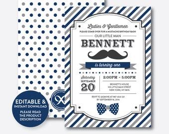 Instant Download, Editable Mustache Birthday Invitation, 1st Birthday Mustache Invitation, Little Man Invitation, Stripes Mustache (SKB.26B)