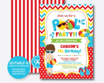 Instant Download, Editable Pool Party Birthday Invitation, Pool Party Invitation, Beach Birthday Invitation, Beach Party Invitation (SKB.13)