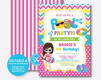 Instant Download, Editable Pool Party Birthday Invitation, Pool Party Invitation, Beach Birthday Invitation, Beach Party Invitation (SKB.12)