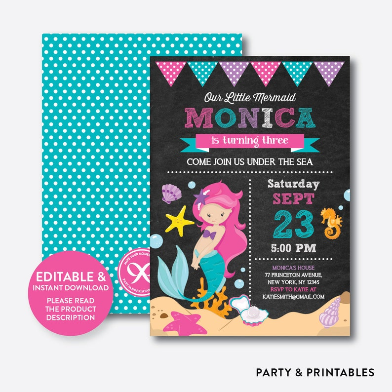 Instant Download Editable Mermaid Birthday Invitation