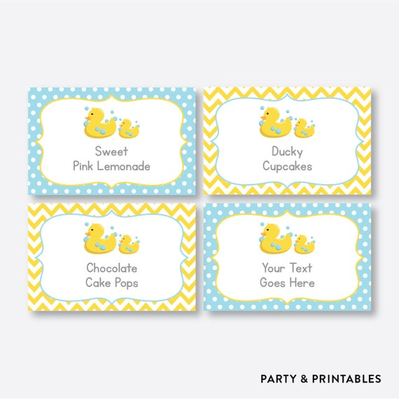 Instant Download Editable Rubber Duck Food Labels Duck Baby Shower