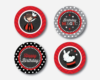 """Instant Download, Magician Cupcake Toppers, Magic Cupcake Toppers, Party Circle, 2"""" Circles, Magic Toppers, Magic Party Printable (CKB.151)"""