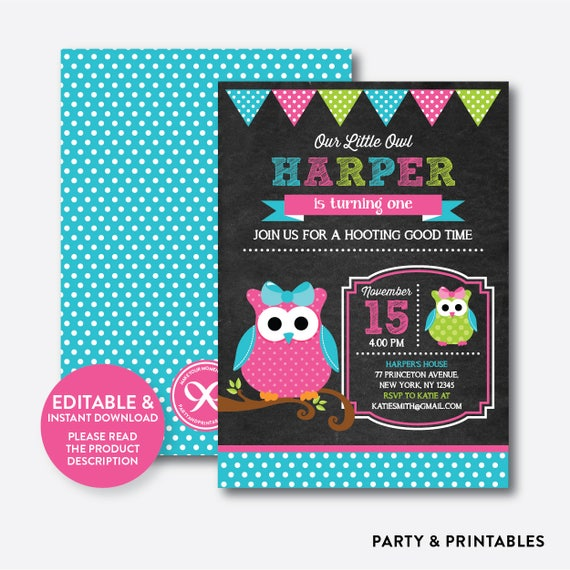 Instant Download Editable Owl Birthday Invitation